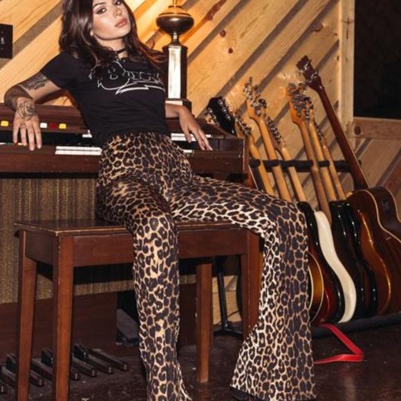 bb352c5e771e ASOS Pants   Leopard Velvet Bell Bottom Festival Flares   Poshmark